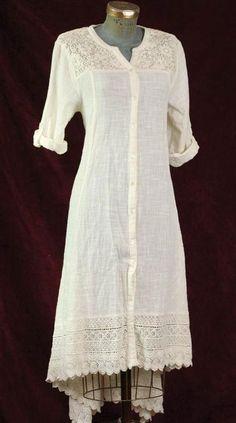 April Cornell 100% Woven Cotton White Shirtdress w/ Lace Yoke Size XL Free Ship…