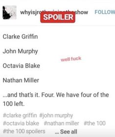 Holy shit this is bonkers Murphy The 100, The 100 Cast, Cw Series, You Have Been Warned, Clexa, Bellarke, Fandoms Unite, Secret Love, Book Tv