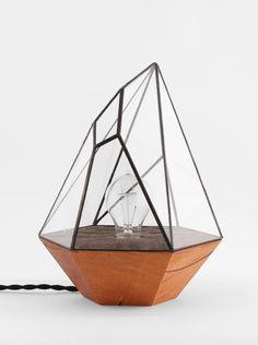 Image of Wood Base Iceberg Lamp