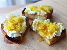 Challah Bruschetta with Lemon Ricotta and Honey