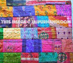 Indian Quilt Vintage Quilt Old Patola Indian Silk Sari Kantha Quilt