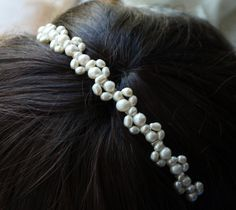 Freshwater pearl headband ivory rice and round pearl silver tiara alice band headband lace design for bride, wedding Pearl Headband, Lace Headbands, Bridal Tiara, Headpiece Wedding, Bridal Jewelry, Bridal Headpieces, Silver Tiara, Silver Pearls, Head Accessories