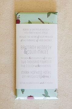 Alternative Wedding Invitations and Save the Dates: personalized chocolate bar