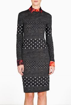 Dotted Islia Jersey Dress With Floral Collar