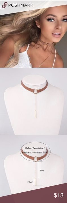 Caramel Choker Beautiful choker with gold tone accessory brings any outfit to life. This is definitely a must have! Jewelry Necklaces