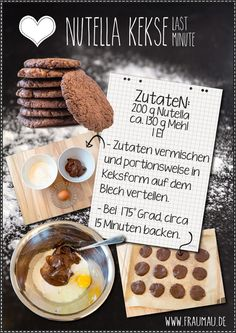Nutella Kekse - Super Easy by fraumau.de Nur 3 Zutaten - Only 3 ingredients Baking Recipes, Dessert Recipes, Nutella Cookies, Gateaux Cake, Sweet Bakery, Diy Food, Yummy Cakes, Sweet Recipes, Love Food