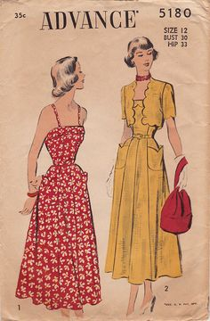 Advance 5180 1940s Gorgeous Sundress with Spegetti Straps &