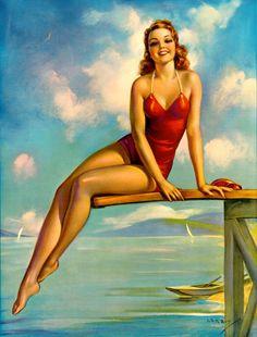 Vintage 1940s Cheesecake Pin Up Print Jules Erbit Redhead Bathing Beauty Seaside |