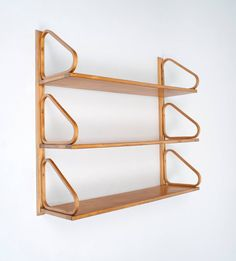 Alvar Aalto Wall-Mounted Shelves | From a unique collection of antique and modern shelves at https://www.1stdibs.com/furniture/storage-case-pieces/shelves/
