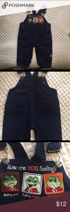 Adorable corduroy overalls Blue corduroy overalls with sad happy silly frogs -excellent condition Leap Frog One Pieces