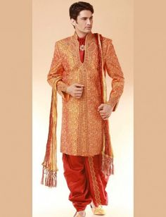 Red Groom sherwani