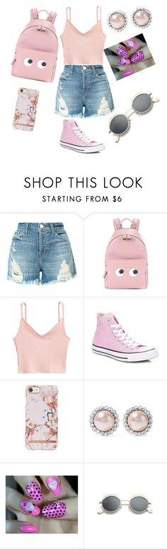 """""""Damsel In Distress"""" by babygirllovefashion ❤ liked on Polyvore featuring J Brand, Anya Hindmarch, Converse and Miu Miu"""