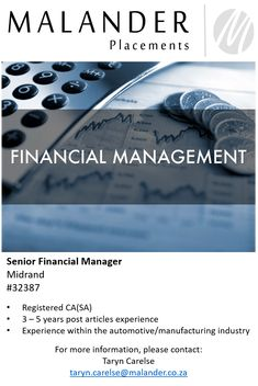 Hiring: Senior Financial Manager   For more information, please visit our website at www.malanderplacements.co.za   #financeprofessionals #charteredaccountants #financialmanager #newopportunity #applynow #jobs #jobsavailable #malanderplacements More Information, Pre And Post, Job S, New Opportunities, Find A Job, Finance, Management, Website, Economics