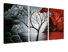 Wieco Art The Cloud Tree Wall Art Oil PaintingS Giclee Landscape Canvas Prints…