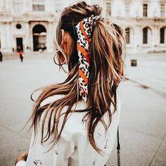 Dark Brown Hair with Light Streaks in a High Ponytail with Red, White and Black Bandana/Ribbon