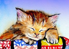 Cat Napping  by Christy DeKoning - Print available for purchase ---*---  Awwww adorable