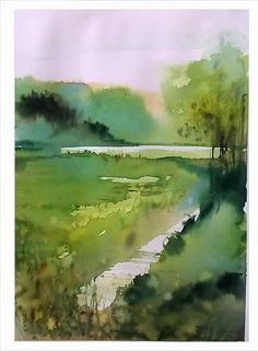 Watercolor Landscape Paintings, Watercolor Artwork, Watercolor And Ink, Landscape Art, Watercolor Flowers, The Joy Of Painting, Watercolor Sketchbook, Watercolor Techniques, Painting Inspiration