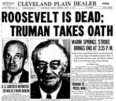"Front-page news about President Franklin Delano Roosevelt dying in office, published in the Plain Dealer (Cleveland, Ohio), 13 April 1945. Read more on the GenealogyBank blog: ""69th Anniversary: President Franklin D. Roosevelt Died in Office."" http://blog.genealogybank.com/69th-anniversary-president-franklin-d-roosevelt-died-in-office.html"