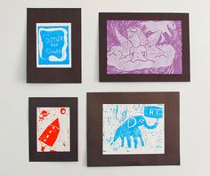 Linoleum Print making with kids. When I have kids, I'm retiring and just doing arts and crafts with them forever!