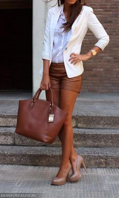 24 beautiful combinations for every occasion: I <3 these rich cognac, leather shorts w/ white blazer...I would have wore w/ turquoise or purple pumps