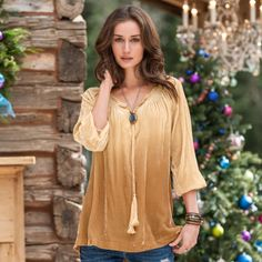 """CASUAL ELEGANCE TUNIC PETITES--Lush, dip-dyed velvet takes you from casual to dressy. Braided tassels, smocked neckline. Rayon/silk. Dry clean. Imported. Exclusive. Sizes XS (2), S (4 to 6), M (8 to 10), L (12 to 14). Approx. 26-1/2""""L."""