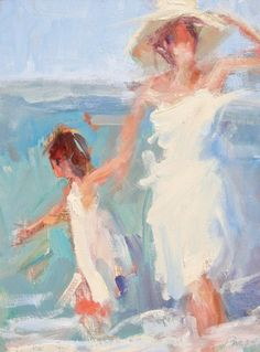 Mother + daughter standing in the waves.   Art by Marian Pacsuta