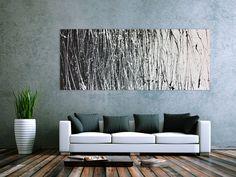 Abstraktes Acrylbild schwarz weiß modern 200x80cm von xxl-art.de
