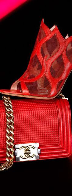 Flap bag, Chanel and Red inferno mule heel, Gianvito Rossi