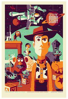 Pixar Toy Story Mondo silkscreen poster by artist Tom Whalen Disney Pixar, Art Disney, Disney Cartoons, Disney Movies, Disney Ideas, Disney Animation, Tom Whalen, Posters Disney Vintage, Retro Disney
