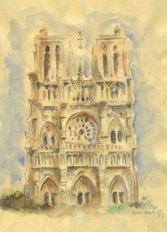 Notre Dame de Paris watercolor by Brittney Lee  My two favorite things: Brittney Lee and Notre Dame de paris. I cry.