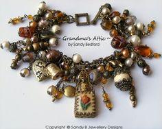 Sold GRANDMA S ATTIC VINTAGE CHARM BRACELET NECKLACE Altered Art Vintage Miniature Perfume Bottle