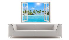 Beach wall decal 3D window tropical beach wall art palm tree