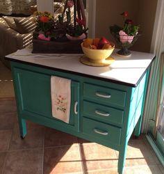 Vintage 1950s Porcelain Enamel Top WOOD Kitchen Shop Cabinet Work ...
