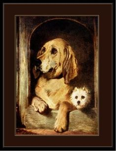 English-Picture-Poster-Print-Bloodhound-Cairn-Terrier-Dog-Dogs-Puppy-Art
