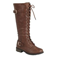 Women's Mata Shoes Mata Women Lace Up Winter Riding Boots 5.5 (535 EGP) ❤ liked on Polyvore featuring shoes, boots, boots & booties, brown, front lace knee high boots, laced knee high boots, brown knee high riding boots, laced up boots and brown boots