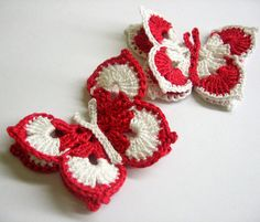 Items similar to Crocheted Butterfly Appliques, handmade, red and white, 2 pc. on Etsy Crochet Leaves, Crochet Doilies, Knitting Yarn, Baby Knitting, International Craft, Crochet Butterfly, Bracelet Crafts, Bracelets, Crochet Christmas Ornaments