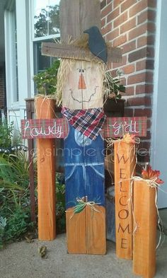 Halloween Wood Crafts, Fall Halloween, Halloween Ideas, Fall Arts And Crafts, Autumn Crafts, Holiday Crafts, Fall Signs, Holiday Signs, Picket Fence Crafts
