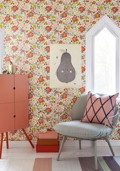 Inspiration för barnrum - Barntapeter - Tapetorama Orange Wallpaper, Of Wallpaper, Swedish Wallpaper, Wallpaper Patterns, Colorful Wallpaper, Decor Room, House Colors, Girls Bedroom, Decoration