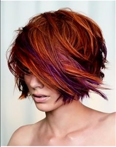 Another view of the style I pinned a few moments ago  red hair purple highlights - Google Search