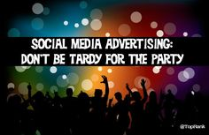 Social Media Advertising: Don't Be Tardy for the Party - http://feedproxy.google.com/~r/OnlineMarketingSEOBlog/~3/hu0YRzmn5Ic?utm_source=rss&utm_medium=Friendly Connect&utm_campaign=RSS #seo