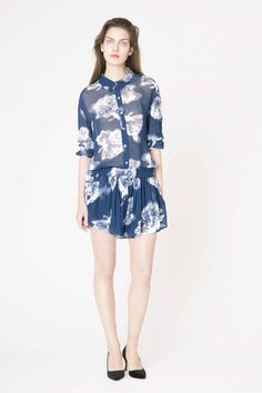 Sheer floral print shirt and shorts from Ganni Holiday collection