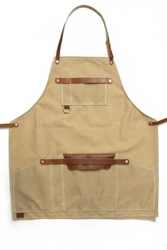 Shop Apron / Waxed canvas Canvas Leather by on Etsy Waxed Canvas, Canvas Leather, Apron Pattern Free, Shop Apron, Cafe Apron, Woodworking Apron, Woodworking Tools, Towel Apron, Work Aprons