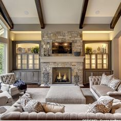 Beautiful family room … | Fireplac…
