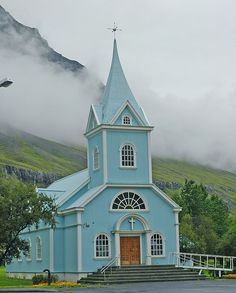 Church of Blue by suebujam, via Flickr.   This church was in the Iceland town of Seydisfjordur. The churches in Iceland are wonderful for photographers. We were able to go into almost all of them and take wonderful pictures. Each church had beautiful colors or steeples or backdrops or some other charm.