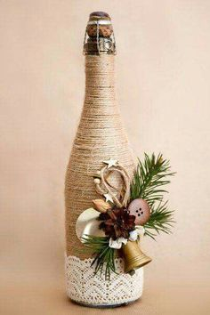 25 Best DIY Wine Bottle Christmas Decorations, Gifts, Crafts and More - Ethinify Glass Bottle Crafts, Wine Bottle Art, Diy Bottle, Twine Wine Bottles, Wrapped Wine Bottles, Bottle Labels, Beer Bottle, Vodka Bottle, Christmas Wine Bottles