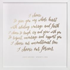 Your Vows as a Foil Art Print by Minted at minted.com