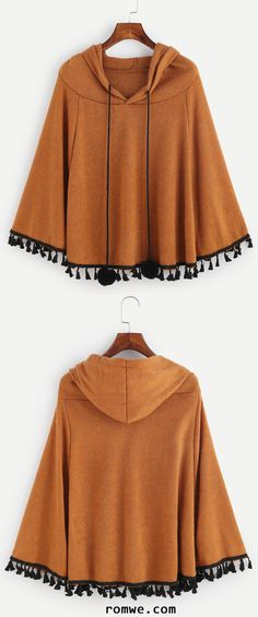 Khaki Fringe Hem Drawstring Hooded Pom Pom Poncho Coat http://bellanblue.com