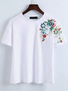 44eb0bfc8ae7 Shop Flower Embroidery T-Shirt online. SheIn offers Flower Embroidery T- Shirt amp