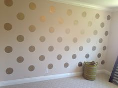 Polka dot wall (could use wallpaper and stencils to make circles instead of spray painting wall)