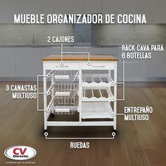 Este mueble de cocina será tu aliado para mantener el orden. Kitchen Cart, Bar Cart, Furniture, Home Decor, Houses, Kitchen Furniture, Drawers, Decorations, Decoration Home